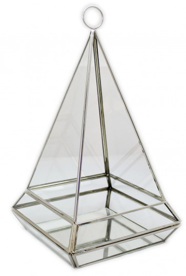 Hanging Clear Glass And Zinc Terrarium Style Pyramid Candle Tealight Holder Lantern With Mirrored Base Large