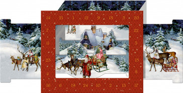 Deluxe Traditional Card Advent Calendar - 3D Victorian Christmas Snowscape