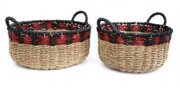 Stunning Set Of 2 Black and Red Storage Baskets ~ Small Woven Seagrass Basket
