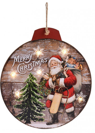 LED Light Up Hanging Father Christmas Bauble Wooden Decorative Wall Plaque Decoration - Santa Design