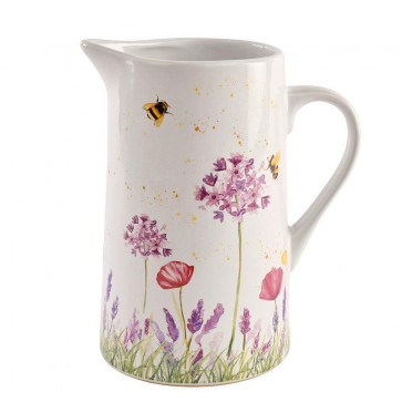 Floral Bee Ceramic Water Jug Pitcher ~ Beautiful Decorative Flower Vase