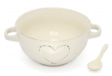 Lovely Cream Stoneware Heart Embossed Bowl With Spoon