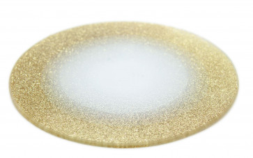 Round Glitter Glass Mirror Candle Plate Stand - Gold Sparkle Candles Coaster 15cm