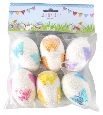 Set Of 6 Glitter Hanging Easter Eggs With Butterfly Decoration