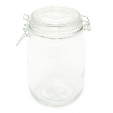 Glass Clip Flip Top Lid Airtight Storage Jar   1000ml Round Glass Airtight Dry Food Storage Jar Container - Rice Pasta Pules Canister