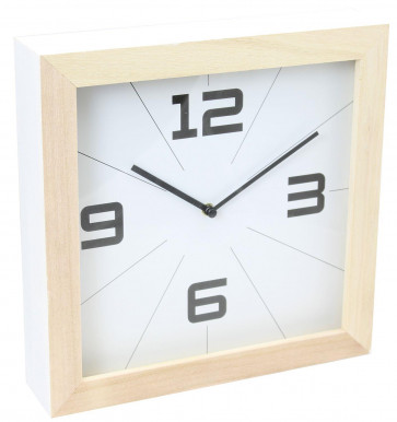Wooden Bordered Freestanding Mantel Shelf Clock - White