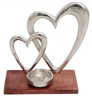 Contemporary Silver Metal Double Love Heart Tealight Candle Holder On Wooden Base