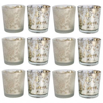 PACK of 12 Mottled Mercury Coloured Glass Style Embossed Tealight Holder - Silver Colour Candle Holder ~ Finish Varies