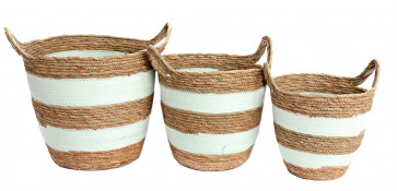Set Of 3 Gorgeous Festival Vibe Storage Basket With Handles ~ Peppermint Striped