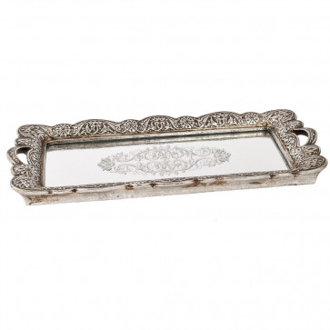 Beautiful Antique Style Silver Metal Mirror Perfume Jewellery Display Dish - Vintage Serving Tray