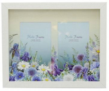 Meadow Floral Layered Box Double Photo Picture Frame - Blue Flower and White Daisy