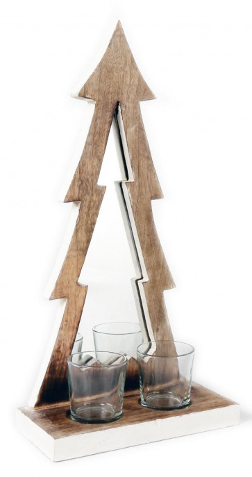 Rustic Wooden Tree Shaped Mirrored Tealight Candle Holder With Glass