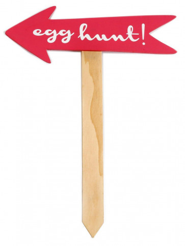 Easter Egg Garden Party Treasure Hunt Wooden Pointer Sign - 26Cm X 34Cm Arrow With Stake - Pink