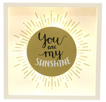 Gold Light Up Box Frame LED Sign Hanging Wall Plaque 20X3X20CM ~ You Are My Sunshine