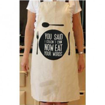 Kitchen Slogan Apron With Matching Bag - Eat Your Words