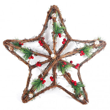 Battery Operated Flashing LED Light Up Woven Wood Star Christmas Decoration