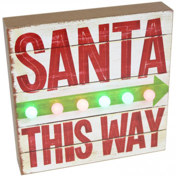 Light Up LED Wooden Father Christmas Santa This Way Plaque Decoration