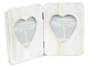 "Shabby Chic Freestanding Lime Washed Hinged Double Heart Photo Frame 6"" x 4"""