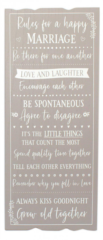 Mr & Mrs Wooden Plaque Sign Wall Art - 'Rules For A Happy Marriage' Hanging Decoration