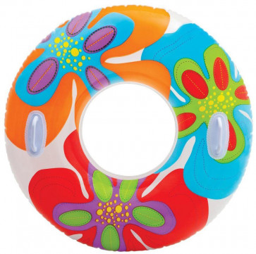 97Cm Intex Inflatable Swim Ring With Handles ~ Vivid Flower