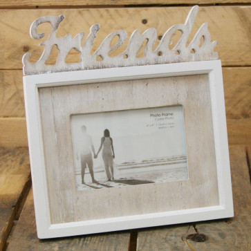 Shabby Chic White Lime Wash Word Photo Frame ~ Friends