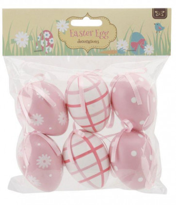 6 Decorative Hanging Easter Eggs ~ Pink
