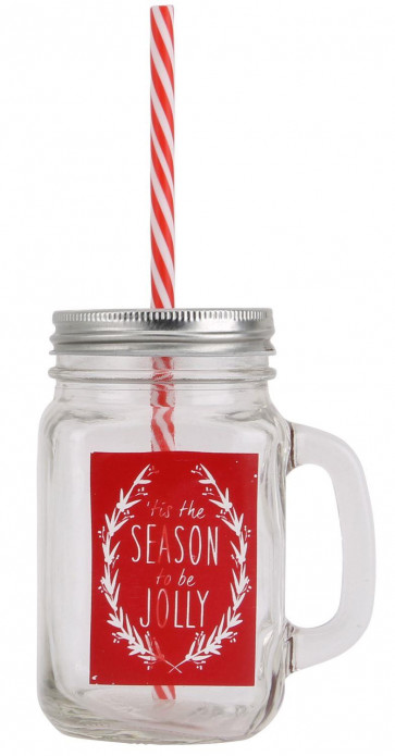 Retro Mason Style Tennessee Glass Handled Christmas Drinking Jar With Lid And Straw ~ Red
