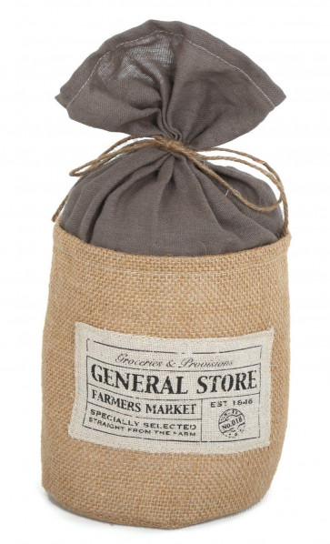 General Store Farmers Market Hessian Fabric Barrel Doorstop