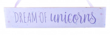 Wooden Unicorn Hanging Sign - Dream of Unicorns Plaque with Ribbon