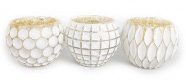 Geometric Embossed White And Mercury Silver Coloured Candle Pot Tealight Holder ~ Designs Vary