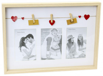 Natural Wood Wall Hanging Triple 6 x 4 Clothes Line Box Photo Frame With Pegs I Love You