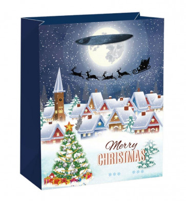 XL Extra Large Glitter Traditional Winter Village Christmas Present Gift Bag 45cm x 33cm