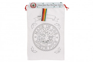 Colour Your Own Christmas Canvas Bag - 'Made In The North Pole' Colour In Santa Sack