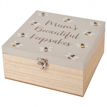 Mums Beeautiful Wooden Keepsake Memories Box - Memory Storage Cube - Ideal Mothering Sunday Mother's Day Gift