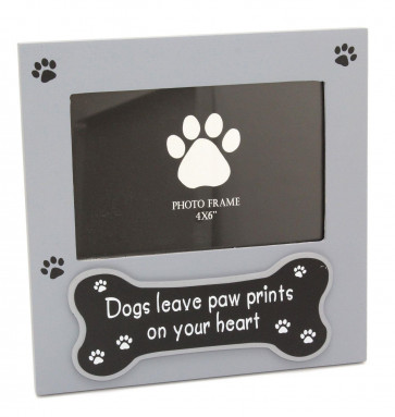 Delightful Grey Photo Picture Frame For Dog Lovers - Picture Frame With Quote 'Dogs Leave Paw Prints On Your Heart'
