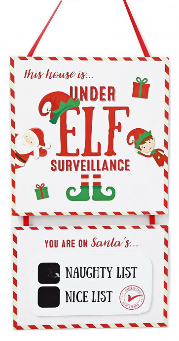 Christmas Elf Surveillance Naughty Nice List Chalk Board Hanging Wall Plaque Sign