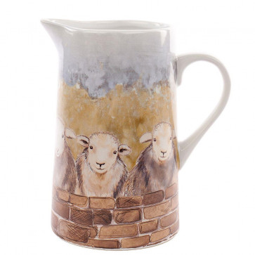 Farming Country Life Ceramic Water Jug Pitcher ~ Decorative Flower Vase