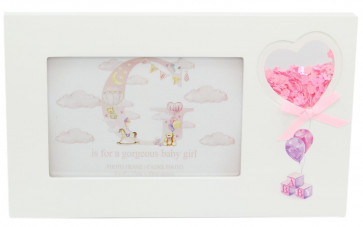 Freestanding New Baby Confetti Decorative Photo Picture Frame - Pink