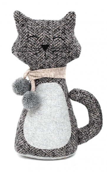 Charming Fabric Cat With Scarf Doorstop -  Feline Novelty Animal Door Stop - Grey