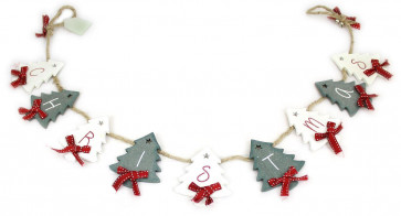 Wooden Merry Christmas Tree Glitter Garland Bunting Decoration