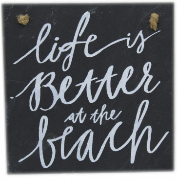 Nautical Seaside Beach Days Slate Tile Hanging Wall Sign Plaque 25Cm ~ Life Is Better At The Beach