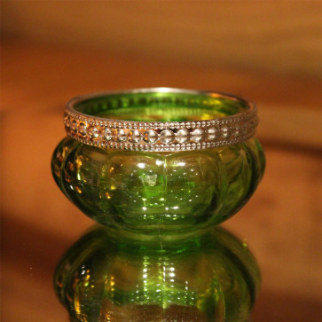 Bright Coloured Glass Ribbed Tealight Candle Holder Pot - Green