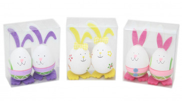 Set Of 2 Easter Bunny Egg Decoration Art And Craft Crafting Accessories ~ Rabbit Colour Vary