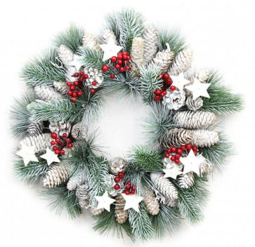 Festive Frosted Christmas Star Berry Pinecone Door Wreath 38cm