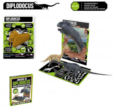 Jurassic 4D Wooden Dinosaur Puzzle With Augmented Reality App ~ Diplodocus