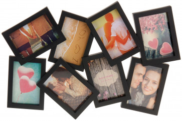 Large 8 Aperture 3D Multi Hanging Photo Picture Collage Frame - Black