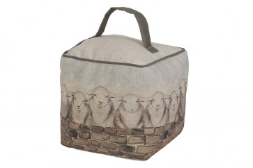 Farmyard Country Sheep Flock Fabric Cube Doorstop - Square Animal Door Stop