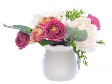 Stunning Artificial Faux Roses Flowers With Ceramic Vase
