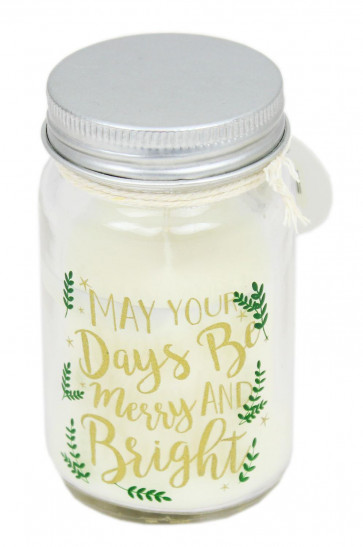 Christmas Clear Glass Jar Candle With Lid ~ Cinnamon May Your Days Be Merry And Bright
