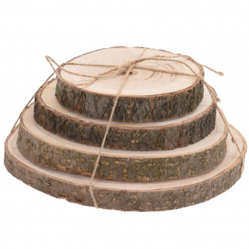 4 Piece Natural Wood Tree Log Slices   Rustic Wedding Decorations Candle Stand   Table Centerpiece